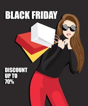 La donna tiene il dito sulle labbra. donna attraente in vestito rosso, donna che fa silenzio di gesto. sconti, saldi, saldi stagionali. venerdì nero per la pubblicità.