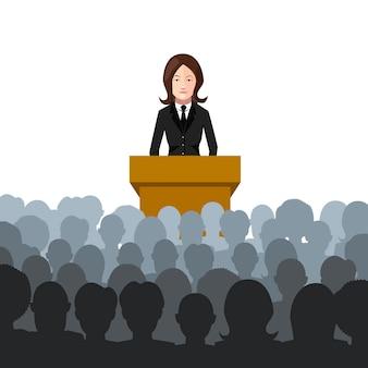 La donna tiene una conferenza ad un'illustrazione piana del pubblico su bianco