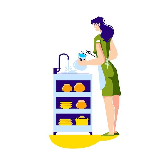 Casalinga della donna che lava i piatti nel lavello della cucina che fa i lavori domestici a casa