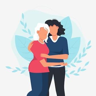 Donna che abbraccia sua madre. amore familiare.