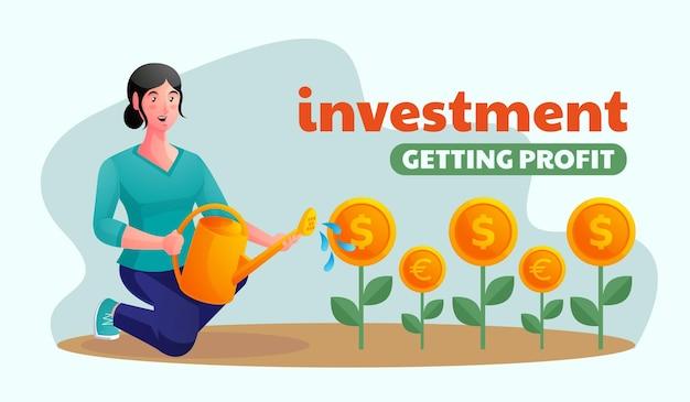 Donna che investe e guadagna denaro