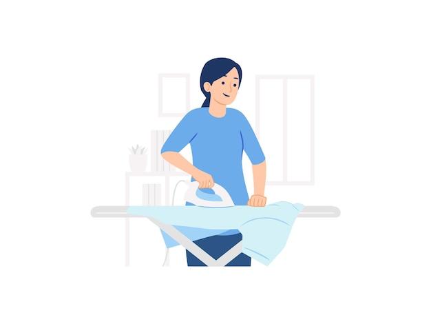 Donna che stira la camicia sull'asse da stiro in lavanderia a casa concetto illustrazione