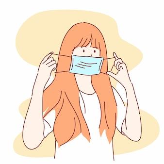 La donna sta per indossare una mascherina medica. prevenire malattie, influenza, aria contaminata, concetto.