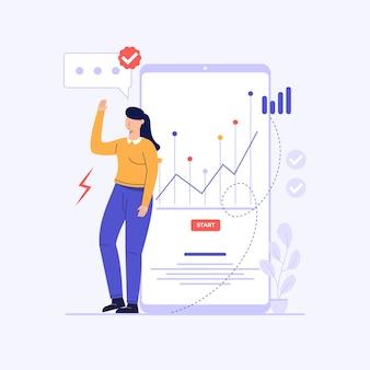 Una donna sta analizzando l'illustrazione del design concettuale dei dati