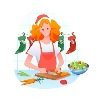 Donna sta cucinando la cena di natale, buon natale e vacanze invernali a casa
