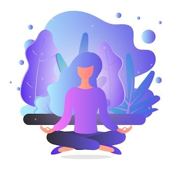 La donna sta meditando sulla natura e sulle foglie. illustrazione di concetto per yoga, meditazione, rilassamento.