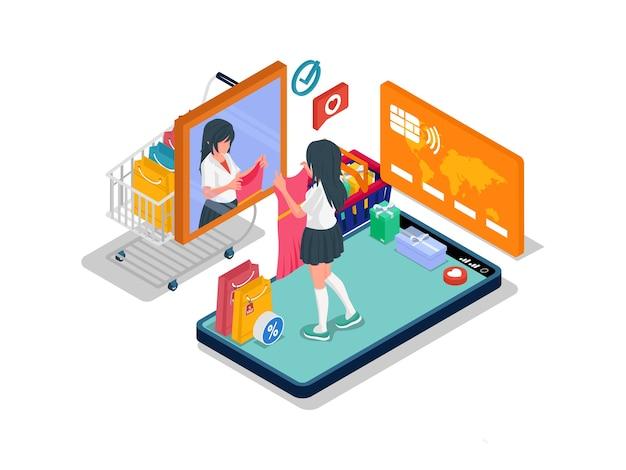 La donna è allo specchio mentre prova il vestito nel negozio online. concetto di illustrazione isometrica di e-commerce con personaggio femminile.