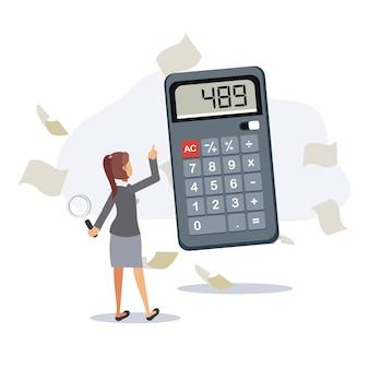 La donna sta usando la calcolatrice, tiene in mano la lente d'ingrandimento circondata da documenti. illustrazioni di personaggi dei cartoni animati vettoriali piatte.