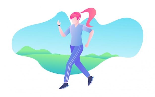 Donna che fa jogging al mattino