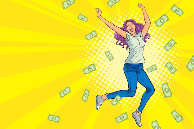 Donna che salta felice sorpresa con falling down money pop art in stile fumetto retrò
