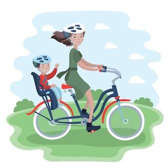 Donna e bambino in viaggio in bicicletta. la donna e il suo bambino in casco da bicicletta.