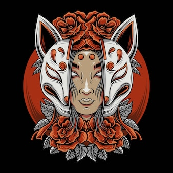 La donna con la maschera kitsune