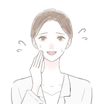 Donna in camice ridendo amabile. su uno sfondo bianco.