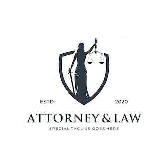 Concetto di logo di legge donna / signora con elemento scudo.