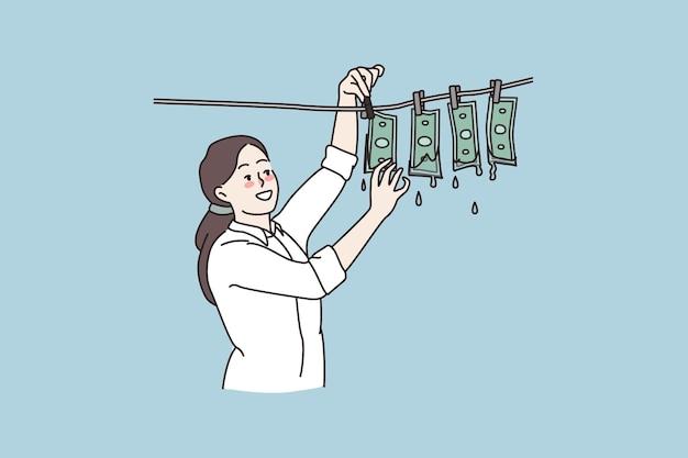 Donna che ricicla denaro sporco sulla corda dei vestiti