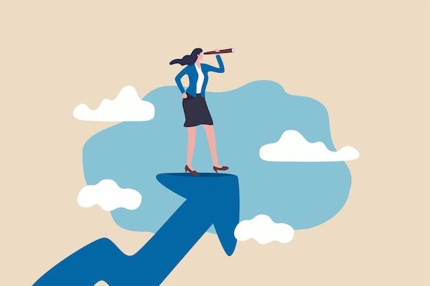 Leader della donna con la visione aziendale di potere della signora, visionaria della donna per vedere il concetto di opportunità di business