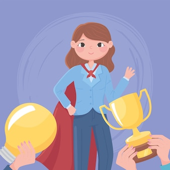 Leadership della donna con il trofeo della protezione e la lampadina