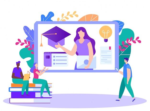 La donna dirige le lezioni del corso online. insegnamento a distanza. lezione online e-learning. formazione online.