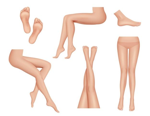 Gambe di donna. raccolta realistica di parti del corpo umano di anatomia della pelle sana del tallone del piede di bellezza.