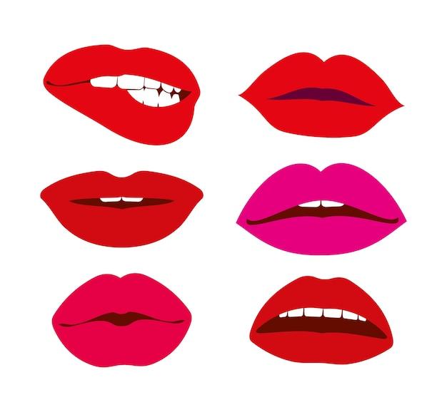 Icone di vettore di labbra di donna