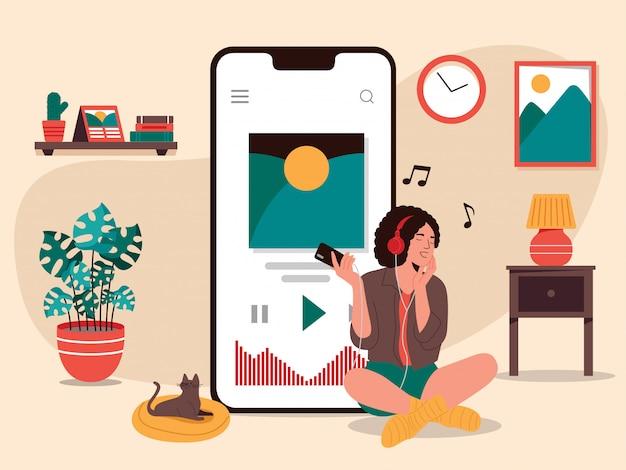 La donna ascolta l'illustrazione di musica in streaming