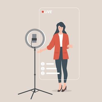 Video dal vivo della donna a casa con lo smartphone presentazione aziendale dell'evento in live streaming