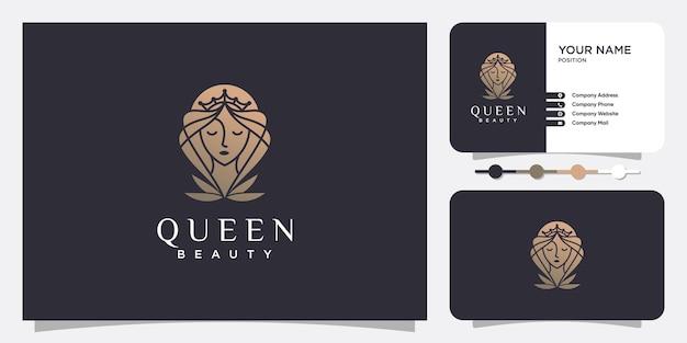 Bellezza del logo della donna con stile creativo vettore premium