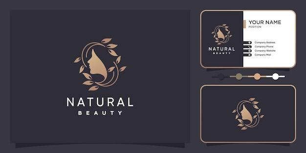 Concetto di logo della donna con stile creativo vettore premium
