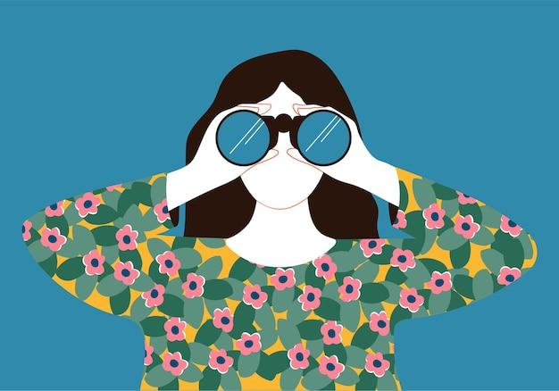 Donna che guarda attraverso l'illustrazione del binocolo in stile piatto cartone animato