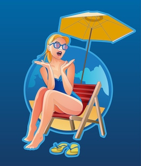 Donna sdraiata sulla sedia a sdraio in spiaggia. bionda femminile in occhiali da sole emotivamente sorpresa e in posa riposando vicino al mare. ragazza rilassata al resort tropicale su sfondo blu.