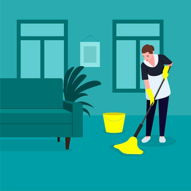 Una domestica fa le pulizie, lava il pavimento con uno straccio con guanti gialli, pulisce, disinfetta le superfici del pavimento,