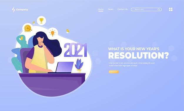 Una donna fa la pianificazione sulla risoluzione del nuovo anno 2021