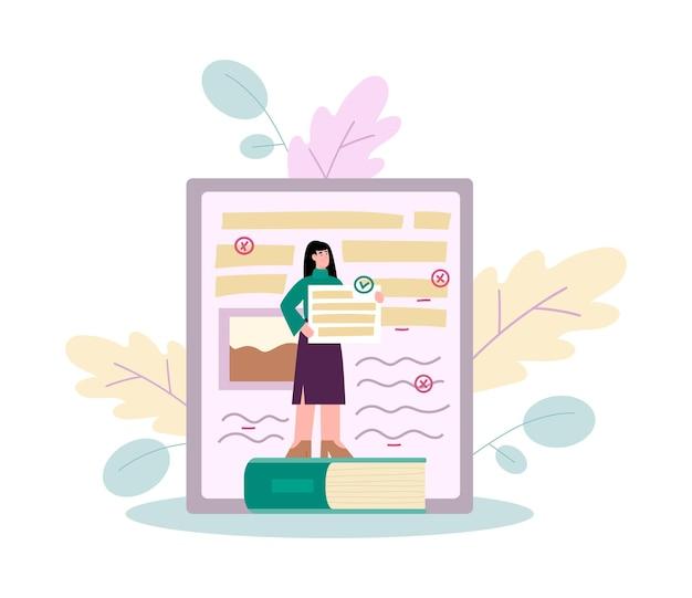 La donna rende la revisione del testo o l'editing grammaticale piatto isolato
