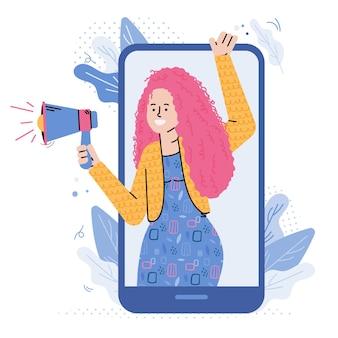 Donna che fa l'annuncio con il megafono dallo schermo del telefono