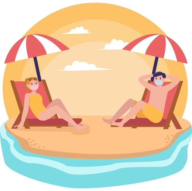 La donna e l'uomo stanno ponendo sulla spiaggia mentre tengono la loro distanza durante l'illustrazione di festa