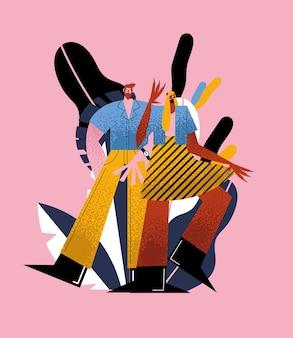 Cartoni animati di uomo e donna con design di look di moda di strada, persone di persone e illustrazione a tema umano