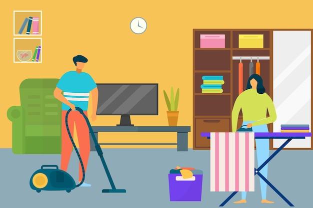 Donna uomo pulizia casa illustrazione vettoriale piatto coppia persona carattere fare il lavoro domestico a casa...
