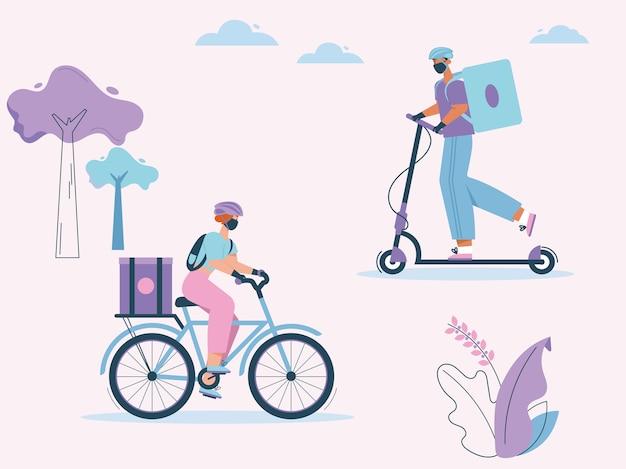 Corrieri donna e uomo con pacchi in bicicletta o monopattino. ragazzo e ragazza indossano guanti e maschera protettiva, epidemia di coronavirus
