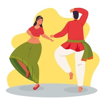 Donna e uomo indiano con vestiti tradizionali danzanti illustrazione design