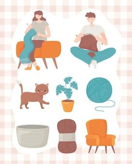Donna e uomo che lavorano a maglia