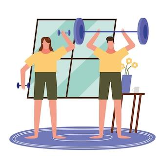 Donna e uomo che sollevano pesi a casa design del tema attività e tempo libero.