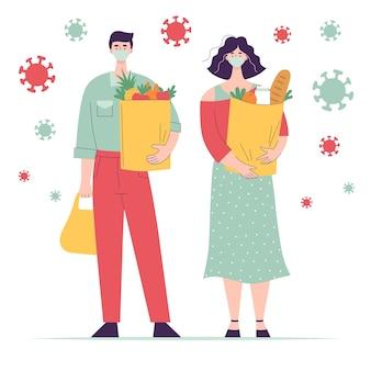 Donna e uomo in maschera medica con generi alimentari sacchetto di carta