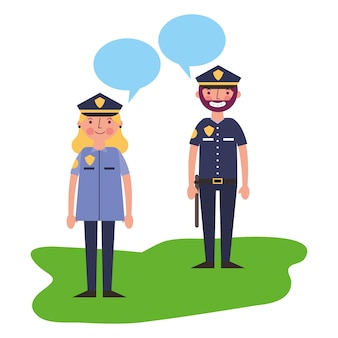 Ufficiale di polizia dell'uomo e della donna che parla illustrazione vettoriale