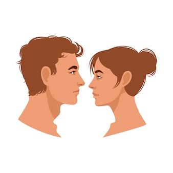 Profili donna e uomo.