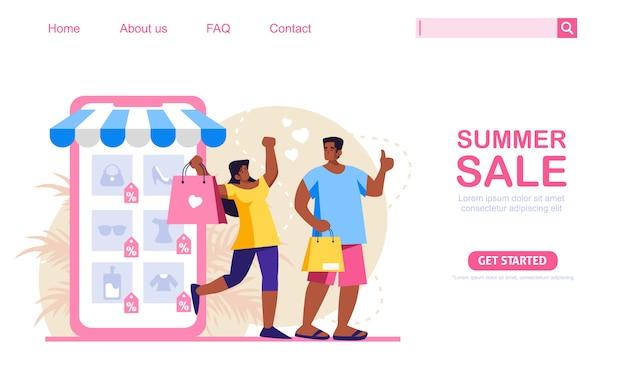 Una donna e un uomo fanno acquisti con sconti estivi presso il negozio di applicazioni mobili. concetto di shopping online, perfetto per il web design, banner, app mobile o landing page. illustrazione scalabile e modificabile.