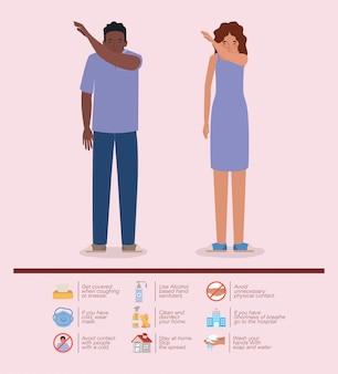 Donna e uomo che starnutiscono nel gomito del 2019 ncov prevenzione dei virus tipizza il design dei sintomi della malattia epidemica di covid 19 e l'illustrazione del tema medico