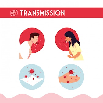 Uomo donna con tosse secca e disegno vettoriale di trasmissione del virus covid 19