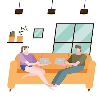 Donna e uomo con il computer portatile sul divano a casa design del tema attività e tempo libero.
