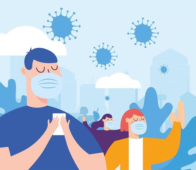 Donna e uomo con maschera in città Vettore Premium