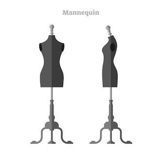 Illustrazione vettoriale di manichino donna, vista laterale e frontale